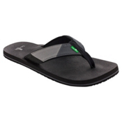 Sanuk Block Party Mens Flip Flops, Black-Charcoal, medium