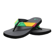 Sanuk Block Party Mens Flip Flops, Rasta, medium