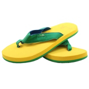 Sanuk Longitude Mens Flip Flops, Green-Yellow-Royal, medium