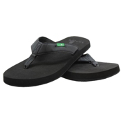 Sanuk Longitude Mens Flip Flops, Blackout, medium
