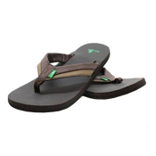 Sanuk Beer Cozy Primo Light Mens Flip Flops, Dark Brown-Brown, medium