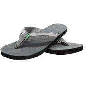 Sanuk Dr. Fray Mens Flip Flops, Coal, medium