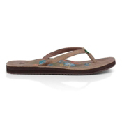 Sanuk Flora The Explora Womens Flip Flops, Brown, medium