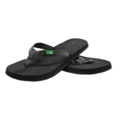 Sanuk On The Rocks Womens Flip Flops, Black, medium