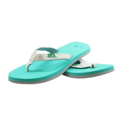 Sanuk On The Rocks Womens Flip Flops, White-Seafoam, medium