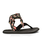 Sanuk Yoga Slinged Up Prints Womens Flip Flops, Black-Black Floral, medium