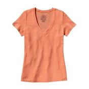 Patagonia Necessity V-Neck Womens Shirt, Peach Sherbet, medium