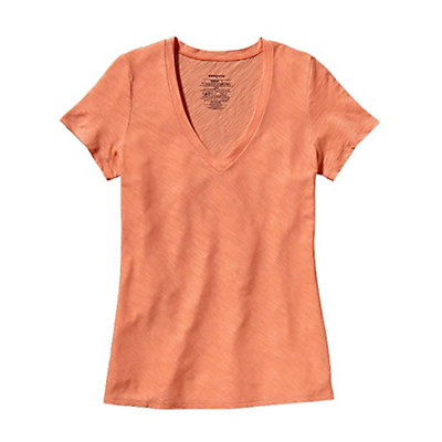 Patagonia Necessity V-Neck Womens Shirt, Ginger Berry, viewer