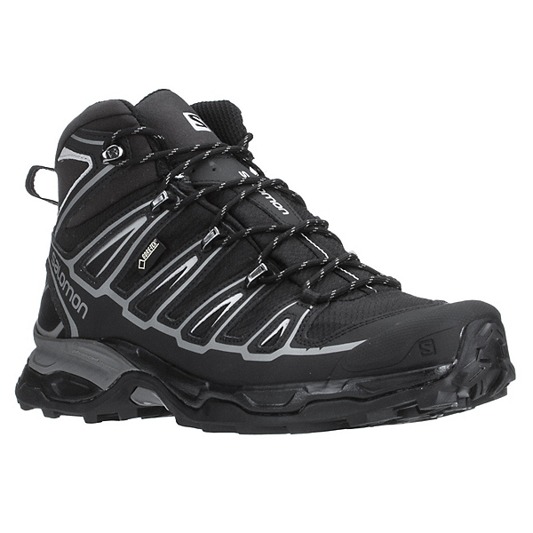 Salomon X Ultra Mid 2 GTX Mens Hiking Boots, Black-Black-Aluminium, 600