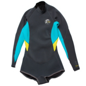 O'Neill Bahia Long Sleeve Short Spring Womens Shorty Wetsuit 2015, Graphite-Light Aqua-Yellow, medium