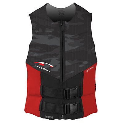 O'Neill Outlaw Comp Adult Life Vest, Black-Smoke-Red, viewer