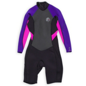 O'Neill Bahia Long Sleeve Spring Womens Shorty Wetsuit 2016, Black-Cobalt-Berry, medium