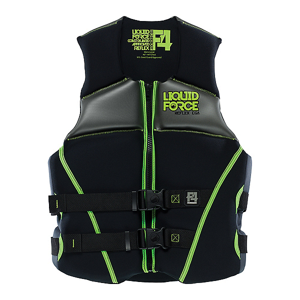 Liquid Force Reflex Adult Life Vest, Black-Yellow, 600
