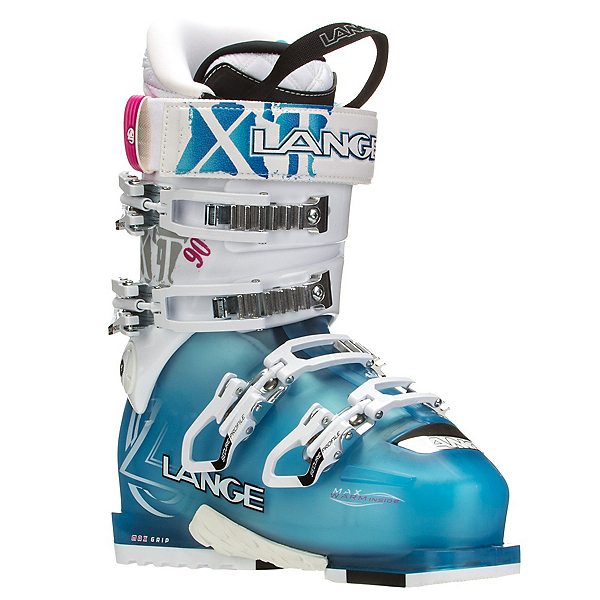 Lange XT 90 W Womens Ski Boots, Transparent Blue-White, 600