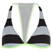 Hurley Tomboy Stripe Halter Bathing Suit Top, Black, medium