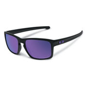 Oakley Sliver Polarized Sunglasses, Matte Black-Violet Iridium, medium