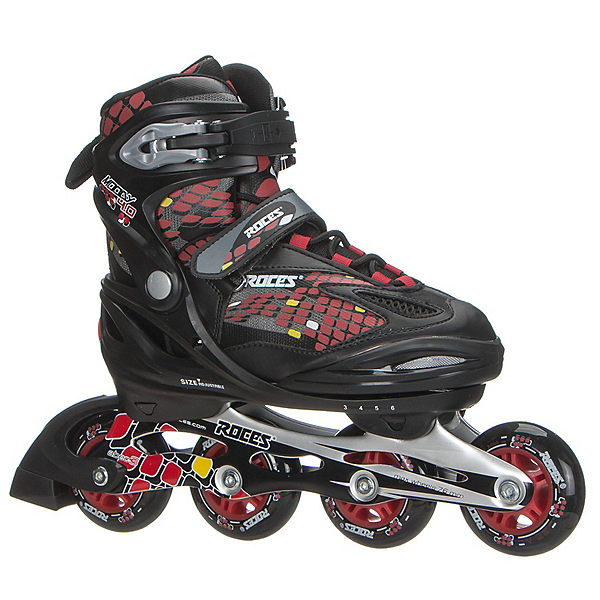 Roces Moody 4.0 Boys Adjustable Kids Inline Skates, Black-Red-Yellow, 600