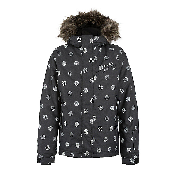 O'Neill Radiant Girls Snowboard Jacket, Black Aop, 600