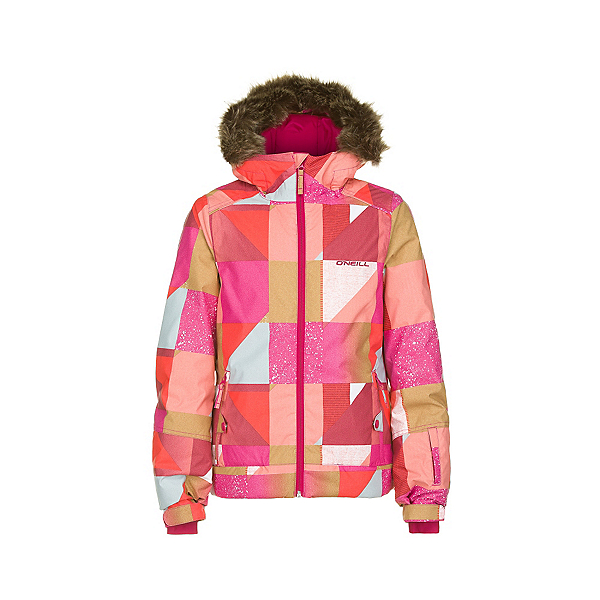O'Neill Tigereye Girls Snowboard Jacket, Orange Aop, 600