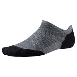SmartWool PHD Run Light Elite Micro 17 Socks, Light Gray-Black, 256