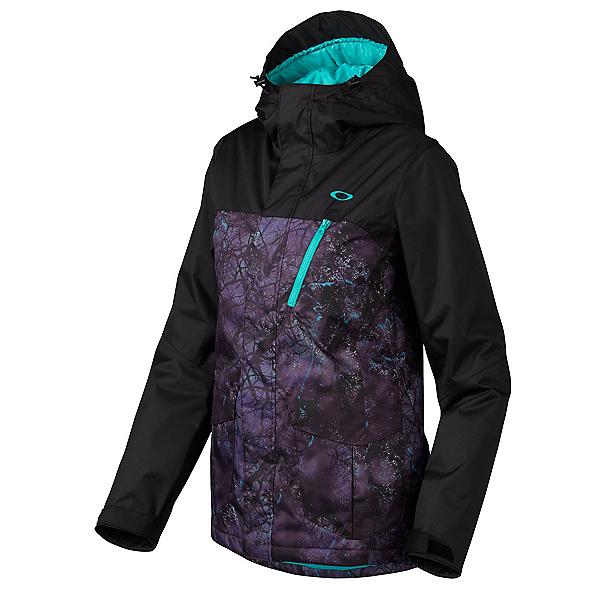 Oakley Kilo Womens Insulated Snowboard Jacket, Helio Purple Forest, 600