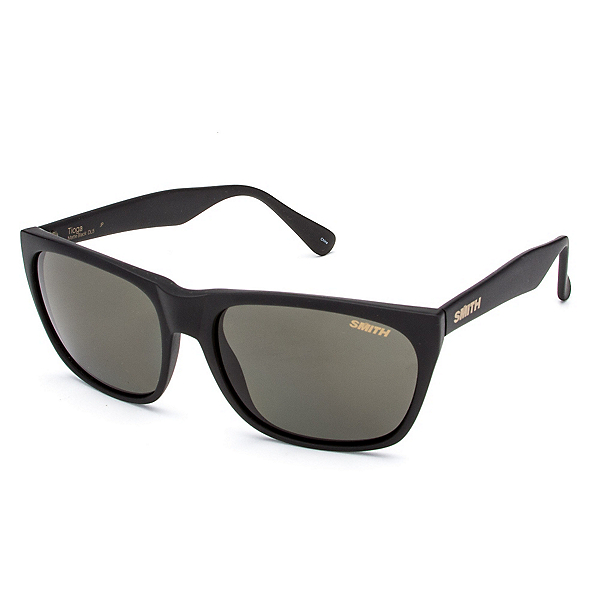 Smith Tioga Polarized Sunglasses, Matte Black-Polar Gray Green, 600