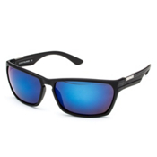 SunCloud Cutout Sunglasses, Matte Black-Blue Mirror Polarized, medium