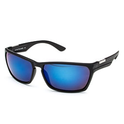 SunCloud Cutout Sunglasses, Matte Black-Blue Mirror Polarized, 256