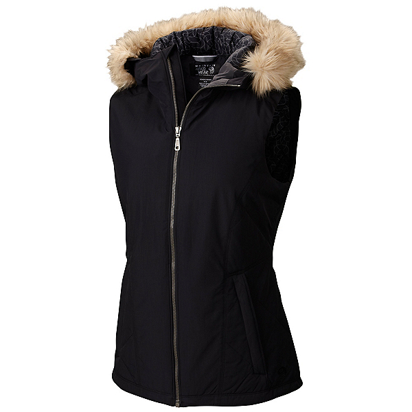 Mountain Hardwear Potrero Insulated Vest w/Faux Fur Womens Vest, Black, 600
