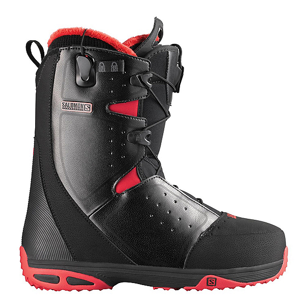 Salomon Moxie Womens Snowboard Boots, Black-Bright Red-Black, 600