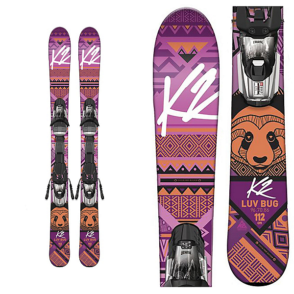 K2 Luv Bug Kids Skis with Marker Fastrak2 4.5 Bindings 2017, , 600