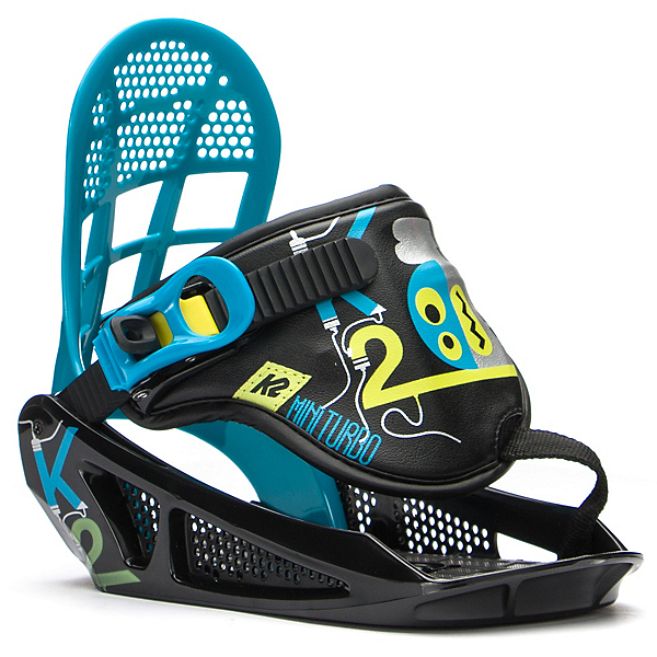 K2 Mini Turbo Kids Snowboard Bindings, Black, 600