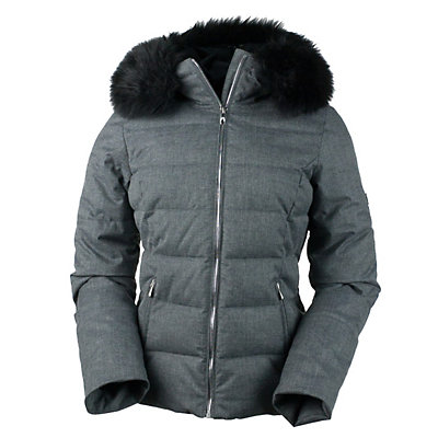 Obermeyer Bombshell with Faux Fur Womens Insulated Ski Jacket, Black, viewer