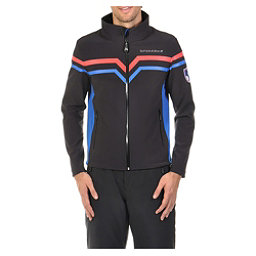 Volkl Yellow Mens Soft Shell Jacket, Black-Blue, 256