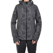 Volkl Silver Star Womens Insulated Ski Jacket, Black Lace Print, medium