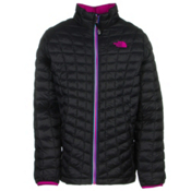 The North Face ThermoBall Full Zip Kids Midlayer, TNF Black-Luminous Pink, medium