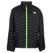 The North Face ThermoBall Full Zip Boys Kids Midlayer, TNF Black-Safety Green, medium