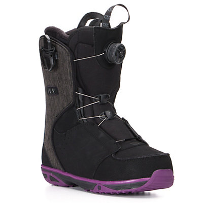 Salomon Ivy Boa Str8Jkt Womens Snowboard Boots, Black-Purple, viewer