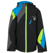 Spyder Avenger Boys Ski Jacket, Black-Electric Blue-Polar, medium
