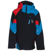 Spyder Leader Boys Ski Jacket, Black-Electric Blue-Volcano, medium
