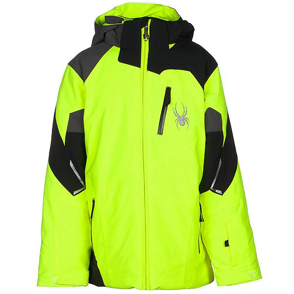 Spyder Leader Boys Ski Jacket (Previous Season), Bryte Yellow-Black-Polar, 600