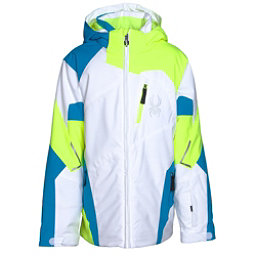 Spyder Leader Boys Ski Jacket (Previous Season), White-Bryte Yellow-Electric Bl, 256