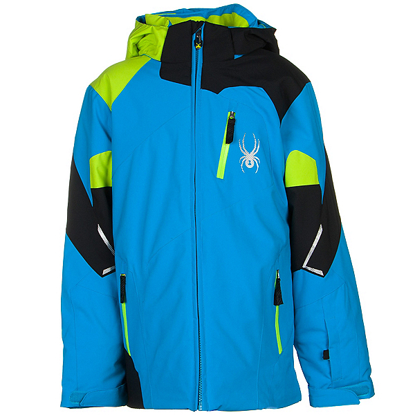 Spyder Leader Boys Ski Jacket (Previous Season), Electric Blue-Black-Theory Gre, 600