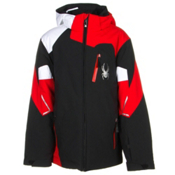 Spyder Leader Boys Ski Jacket, Black-Volcano-White, medium