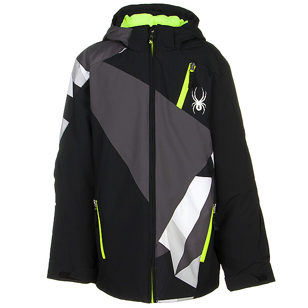 Spyder Enforcer Boys Ski Jacket (Previous Season), Black-Polar-Black Faceted Prin, 600