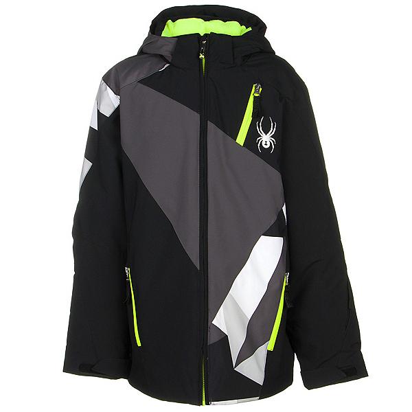 Spyder Enforcer Boys Ski Jacket (Previous Season), Black-Polar-Black Faceted Prin, 600