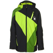 Spyder Enforcer Boys Ski Jacket, Black-Theory Green-Mountain To, medium