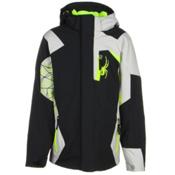 Spyder Challenger Boys Ski Jacket, Black-Cirrus-Bryte Yellow, medium