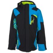 Spyder Challenger Boys Ski Jacket, Black-Electric Blue-Theory Gre, medium