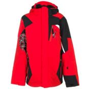 Spyder Challenger Boys Ski Jacket, Volcano-Black-White, medium